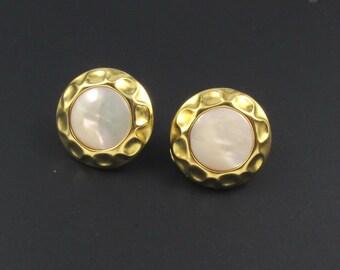 Monet Mother of Pearl Earrings, Gold Earrings, Round Earrings, MOP Earrings, Shell Earrings