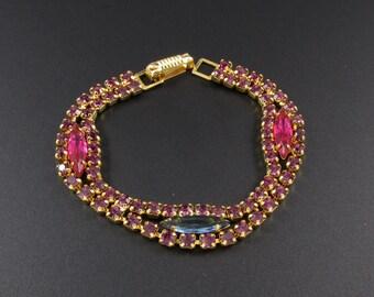 Purple Rhinestone Bracelet, Colorful Rhinestone Bracelet, Pink Rhinestone Bracelet, Double Strand Rhinestone Bracelet