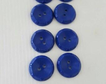 8 Azure blue plastic buttons
