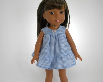 Made to fit 14.5 inch dolls such as Wellie Wishers, Blue Gingham Babydoll nightgown, 07-1228