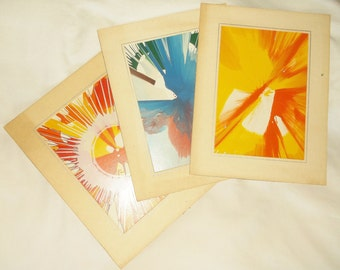 Vintage Retro 70s Spin Art • 5 X 7 inch designs • Lot of 3