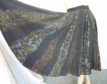 Hand Painted Vintage Mexican Circle Skirt TEL-Art