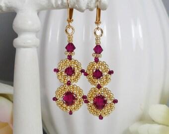 Woven Earrings in Swarovski Fuchsia Crystal Linked Medallion Style