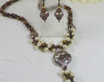 Woven Lampwork Necklace and Earrings Set Pearl and Antiqued Bronze