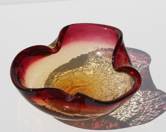 Vintage Mid Century Modern Cranberry Amber Crackle Glass Bowl Ashtray