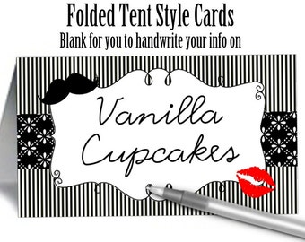 12 Twent Style Place Cards, Buffet Food Label Cards, Kiss, Lips & Mustache, Wedding Reception, Engagement Party, Rehearsal Dinner