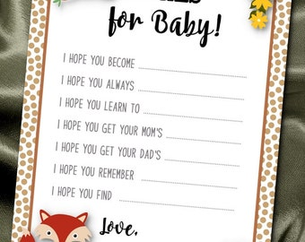 10 Wishes for Baby Cards, Baby Shower Party Games, Activity Game Cards, Baby Woodland Forest Animals, Fox, Raccoon, Squirrel, Owl, Hedgehog