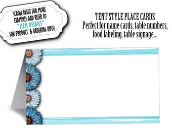 12 Blank Table Tent Place Cards, Food Labels, Table Signs, Wedding, Bridal or Baby Shower, Birthday, Quinceanera, Floral Design, In 5 Colors
