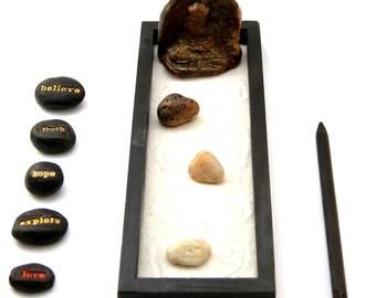 Desktop Zen Garden with Stoneware Buddha - Ready to Ship