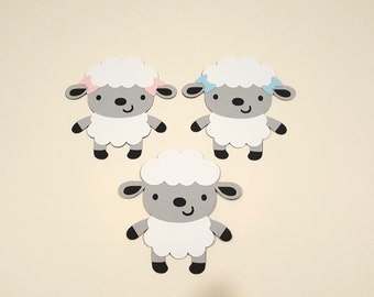 Paper Lamb, Set of 6, Choose Your Size, Baby Shower, Gender Reveal, Farm Party