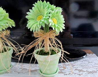 Daisy Floral Lime Green / Summer Floral In Painted Clay Pot / Floral Centerpiece / Silk Floral Daisies In Pot