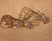 Sweet set of 2 Vintage Rhinestone Flower Barrette-Vintage Barrette-Rhinestone Barrette-Hair Barrette-Barrette Set-Rhinestone Jewelry