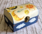 Wooden jewelry box with sun and moon decoupage and hand painted clouds in blue and cream