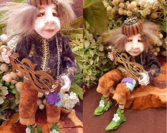 Bertrum Boodle Minstral Elf with Guitar OOAK Fairy Fairies Art Doll Posable NEW Figurine Polymer Clay