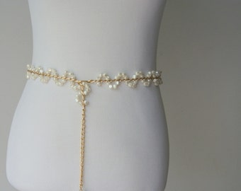 Vintage Gold and Faux Pearl Chain Belt or Lariat