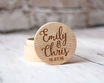 Personalised Wooden Ring Box - Custom made with the initials of your choice - heart design