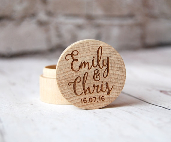 Personalised Wooden Ring Box - Custom made with the names of your choice - Calligraphy design - Rustic - Names and date