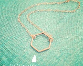 Tiny Hexagon Necklace - Dainty Hexagon Shape - Gold Jewelry- Minimalist - Simple -Wedding Gift - Bridal - Simple Everyday -thelovelyraindrop