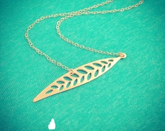 New -Long Leaf Gold Necklace - Dainty Gold Leaf Necklace Perfect Gift - Lovely - Gift - Bridal Jewelry - Gold Necklace - The Lovely Raindrop