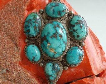 Vintage Turquoise Sterling Pendant Large Stunning
