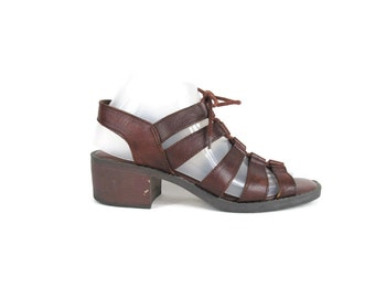 Vintage 80s 90s Brown Leather Sandals Lace Up Sandals Chunky Heel Sandals Hipster Open Toe Cut Out Sandals Boho Gladiator Sandals Size 7.5
