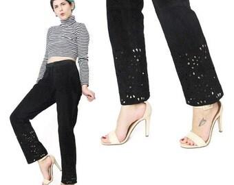 25% off SALE 90s Black Suede Leather Pants Womens Black Leather Pants Slim Leg Minimalist Laser Cut Out Vintage Petites Leather Biker Pants