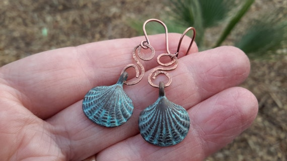 Greek Copper Seashell Dangles | Rustic Handmade Swirls & Shells with Aqua Patina
