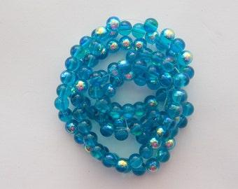 105 Blue AB glass beads B147