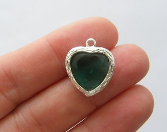 1 May birthstone emerald 19 x 16mm silver plated