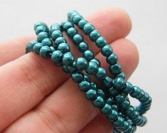 225 Teal imitation pearl glass beads B151