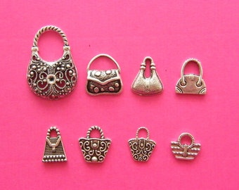 The Handbag/Purse Charm Collection -  8 different antique silver tone charms