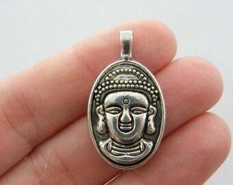 2 Buddha charms antique silver tone R57