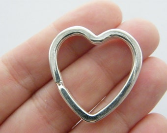 BULK 10 Heart key ring 31 x 31mm silver plated