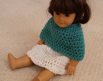 "Doll Skirt and Poncho, Hand Crocheted, Fits American Girl or Similar 19"" Dolls"
