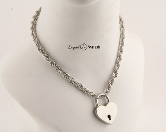 Intricate Chain Locking Necklace Heart Love Pad-Lock Day Collar Bondage Choker Chain Fetish Jewelry BDSM Necklace Kink Owned Collar Discreet