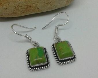 Green Copper Turquoise Earrings