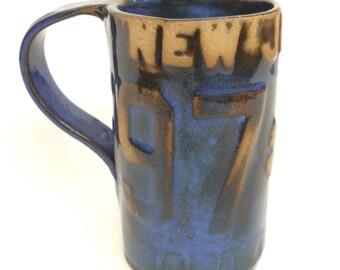 New Jersey License Plate Mug, Large, Blue