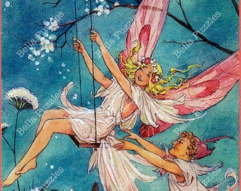 Hand-cut wooden jigsaw puzzle. Fairy swing. Dorothy Wheeler Fairytale gift. Wood, collectible. Bella Puzzles.