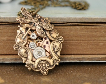 antique brass steampunk necklace TIME TRAVELER steampunk watch movement necklace with tiny dragonfly