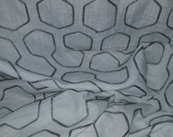 White LINEN Sheer With GREY CORDED Geometric Drapery Fabric, 42-22-01-0316
