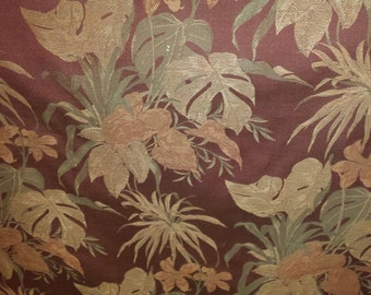 TROPICAL Floral JACQUARD RED Coral Olive Damask Upholstery Fabric, 37-60-05-098