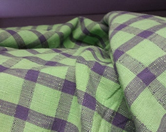 KELLY Green NAVY Blue Woven Cotton CHECK Upholstery Fabric,15-12-49-043