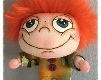 "OOAK Artist Miniature Cloth Pocket Rag Doll baby boy ""CLANCY"" only 3 1/2"" high!"