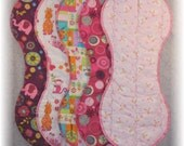 Baby Burp Cloth Set for Baby Girl - sheep elephant monkey giraffe zebra cat butterfly lady bug flower