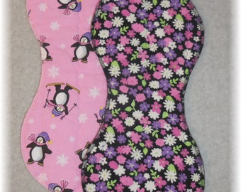 Penguin Burp Cloth and Flower Burp Cloth Set quilted flannel contoured burp cloth