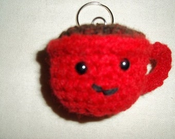 Cuppa Hot Chocolate Keychain With Real Chocolate Aroma ~ Red