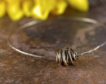 Antique Brass Bangle with Antique Brass Wire Bead, skinny bracelet, hammered bracelet, stacking bangle