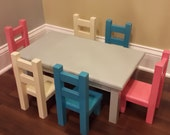 American doll table and 6 chairs with optional beds and bedding