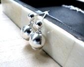Drop earrings dangles sterling silver jewelry - Timeless design dew shine silver earrings in simple elegance