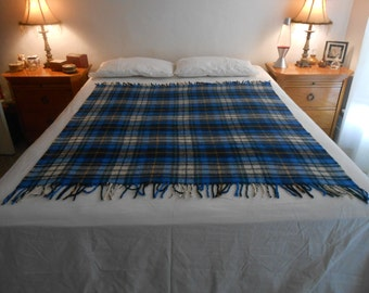 "Acrylic Plaid Bed Throw/Couch or Chair Throw/Stadium BlanketSize 49.75"" by 52"" with 3"" Fringe on Each End"